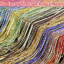 Lowest Price SS10 2.8mm All Colors Rhinestones Clear Crystal strass termoadhesivos Sewing On Chain For Caking decorations