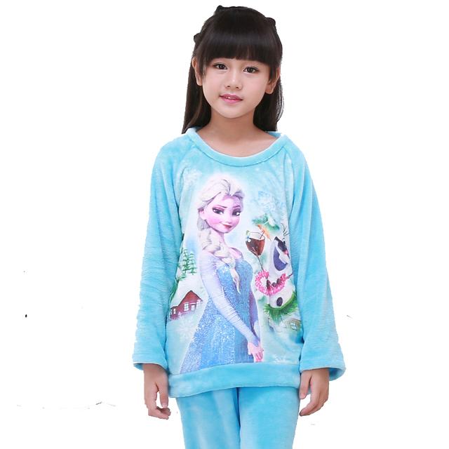 4-15Year Anna Elsa Niñas Pijama de Felpa de Dibujos Animados Caliente Niño Niñas Ropa de Dormir Ropa de Bebé Pantalones Niños Ropa Pijamas Camisón