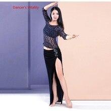 Frauen 2 stück Set Oriental Dance Kostüm Doppel Farbe Kontrast samt Kleid Bauchtanz Praxis Tragen Auf Verkauf