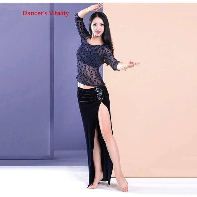 Womens 2 piece Set Oriental Dance Costume Double Color Contrast velvet Dress Bellydance Practice Wear On Sale