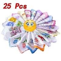 Fashion Design 25pcs Cotton Gauze Muslin Square Handkerchief Towel Lovely Flower Pattern Women Men Pocket Scarf