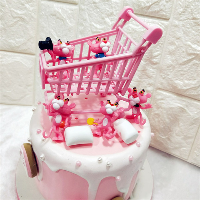 Mini Pink Shopping Trolley Cake Toppers Diy Decoration Accessories