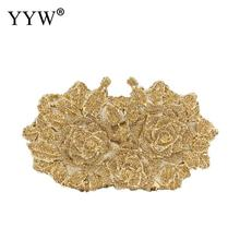цены Dazzling Women Gold Rose Flower Hollow Out Crystal Evening Metal Clutches Small Minaudiere Handbag Purse Wedding Box Clutch Bag