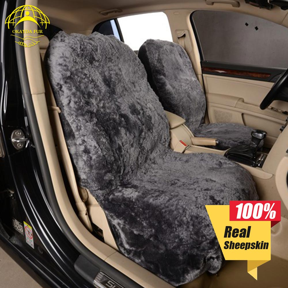 OKAYDA sēdekļa pārsegs auto kažokādas īsta aitādas mīksts silts 1gab universāls aksesuāri interjera spilvens aitādas spainis Bezmaksas piegāde