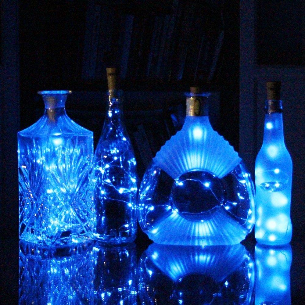 Ausida Färgrik ledig fe sträng Cork Formade LED Night Light Starry - Festlig belysning