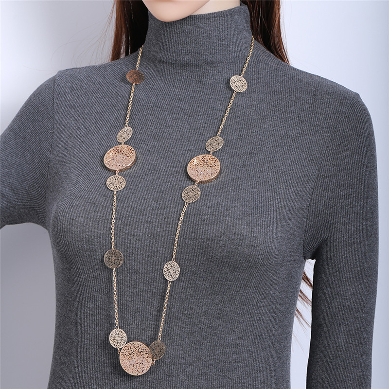 Gold Chains Long Necklace Round Hollow Out Flower Pendant Maxi Necklaces for Women Statement Jewelry 2018 Fashion Sweater Bijoux criss cross side slit hollow out sweater