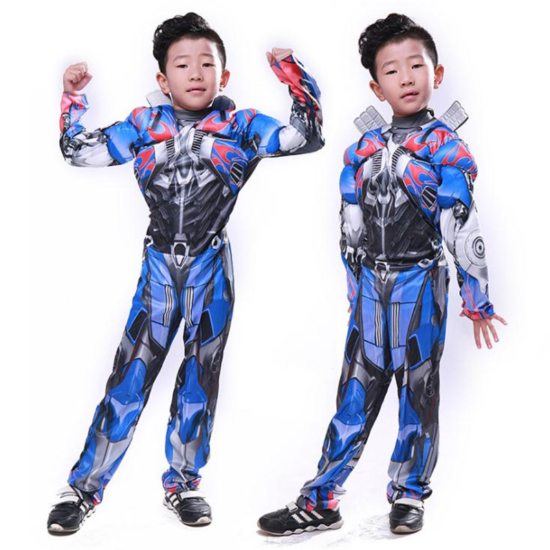 Movie Transformers Optimus Prime Cosplay Costumes Muscle Jumpsuit Mask Set Rompers Halloween Carnival Christmas For Kids Boys