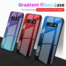 For Samsung Galaxy S10 S9 S8 Plus S10e Gradient Tempered Glass Shockproof Cover Note 9 8 s10 s 10 Case Coque Shell