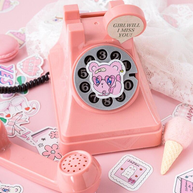 Купить с кэшбэком 46 pcs/box Pink league Kawaii paper stickers Diary decoration diy scrapbooking label seal Hand account sticker stationery
