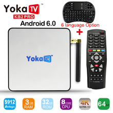 Yokatv KB2 PRO Amlogic S912 octa base Android 6.0 smart TV Box DDR4 3 GB 32 GB Set Top Box BT 4.0 4 K wifi Streaming Media lecteur