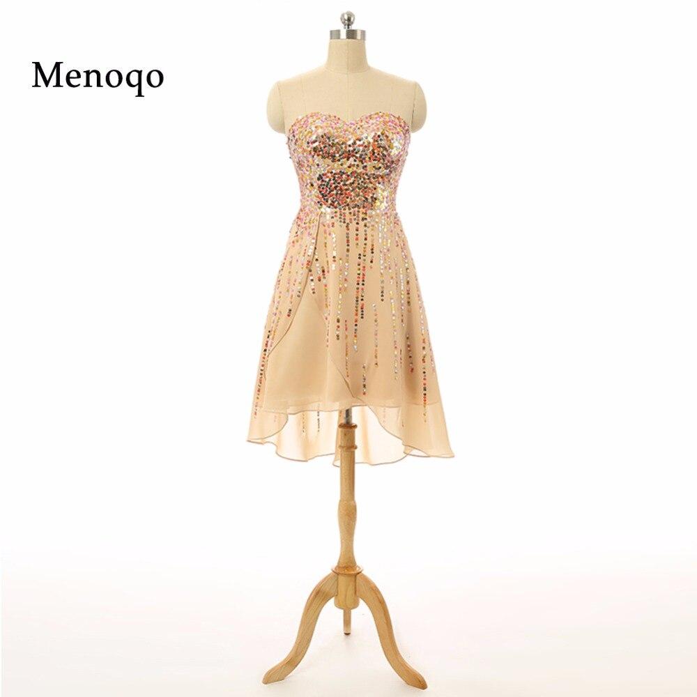 Vestido De Festa Real Photo 2019 Cheap A line Chiffon Sequins Hi low Prom Gowns Party Graduation   Dress   Short   Cocktail     Dresses