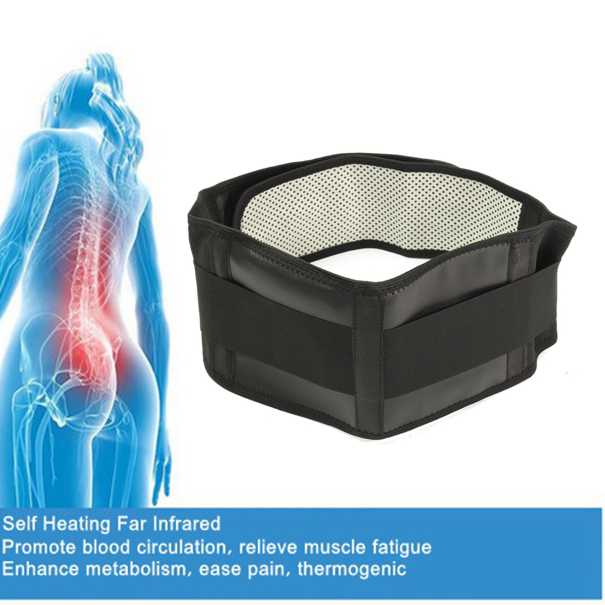 Adjustable Tourmaline Self-heating Magnetic Therapy Waist Belt Lumbar Support Protection Back Brace Double Banded Health Care