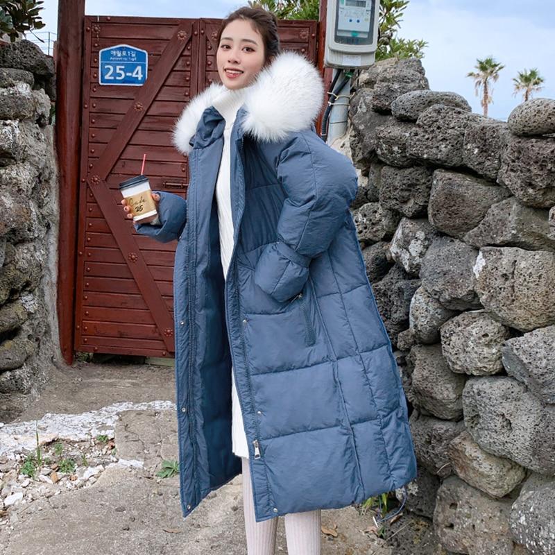 New arrival 2019 women winter long   parka   cotton padded warm coats fashion fur hooded jackets korean style outwear   parka
