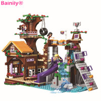 Bainily 10497 739Pcs Friends Adventure Camp Tree House Tire Swing Model Building Minifigures Blocks Girl Toys
