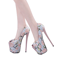 Fashion Shoes 2019 Women High Heels Platform Pumps Peep Toe Party Wedding Shoes Embroidery Sexy Heels Ladies Shoes Big Size 47 fashion round toe women pumps big size 31 47 spring autumn women shoes fashion ruffles decoration lace up platform high heels