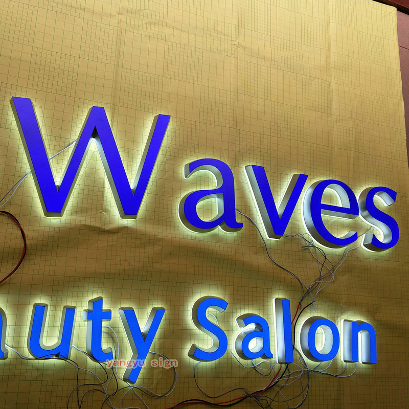 outdoor acrylic led illuminated logo signage letter for salon store