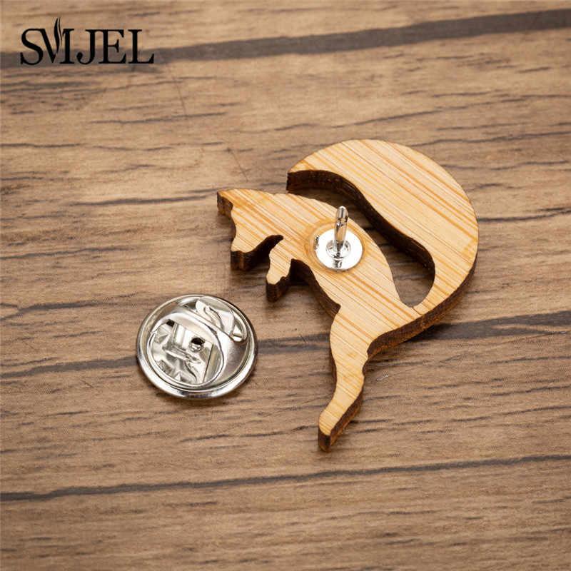 SMJEL w stylu Vintage Fox biżuteria skoki lisa broszki kobiety Kid zwierząt drewna klapy Pin emalia Denim kurtki kołnierz odznaka Pins broszki