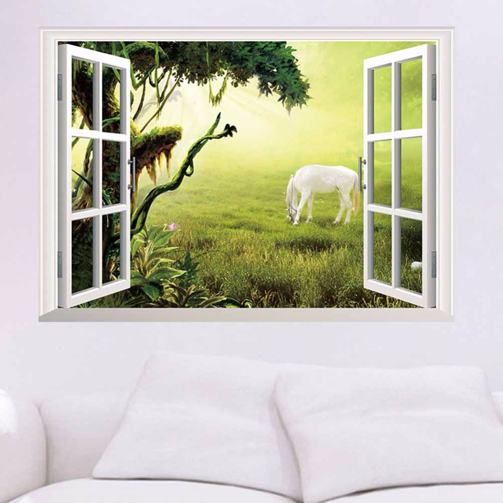 3D Prairie White Scenery Horse Fake Window Wall Stickers For Bedroom ...