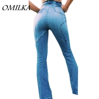 OMILKA 2017 Autumn Women High Waist Ripped Flare Jeans Pants Vintage Five Pointed Star Skinny Steetwear Hip Blue Denim Jeans