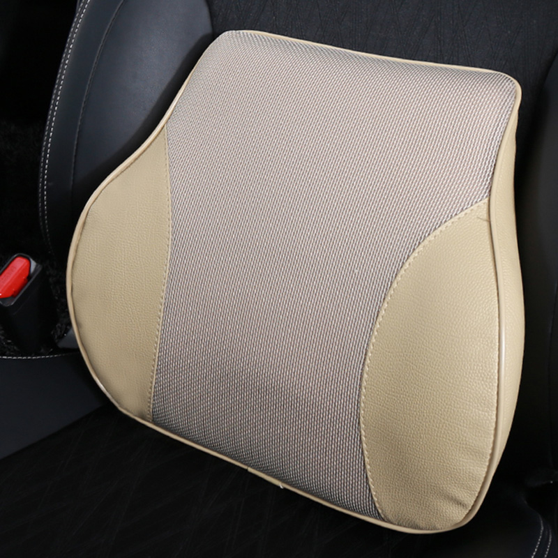 PU Leather Orthopedic Back Support Lumbar Cushion Best for Relief Back Pain and Posture Improvement Suit for Driving (Beige) купити накладки спиннер на руль