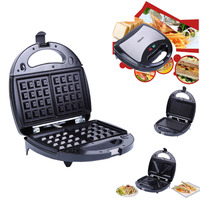 (Ship from EU) Electric 3 in 1 Waffle Sandwich Panini BBQ Grilling Machine Breakfast Maker For Home Office