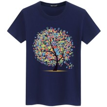 Mens T-shirt cotton Harajuku casual fashion mens short-sleeved hip-hop printed tree personality top
