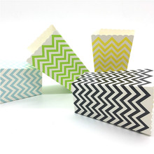 12pcs/set Folding Wave Pattern Candy Popcorn Boxes Birthday Party Wedding Candy/Sanck Favor Bags Paper Chritmas Gift Bag