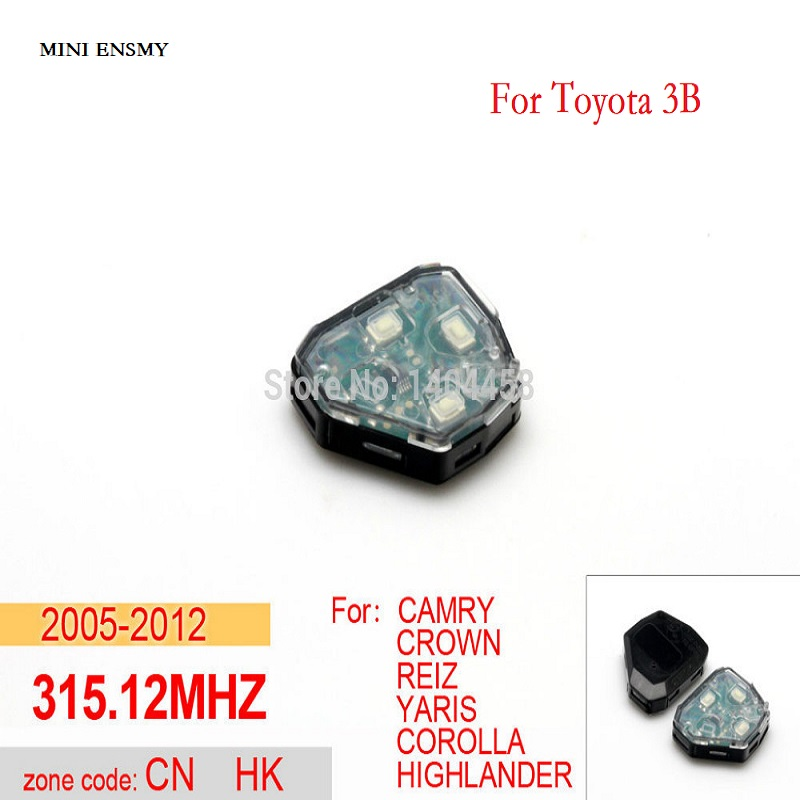 High Quality,toyota camry key replacement,transponder car key remote 315.12MHZ 3B for Toyota,car alarm system,free shipping