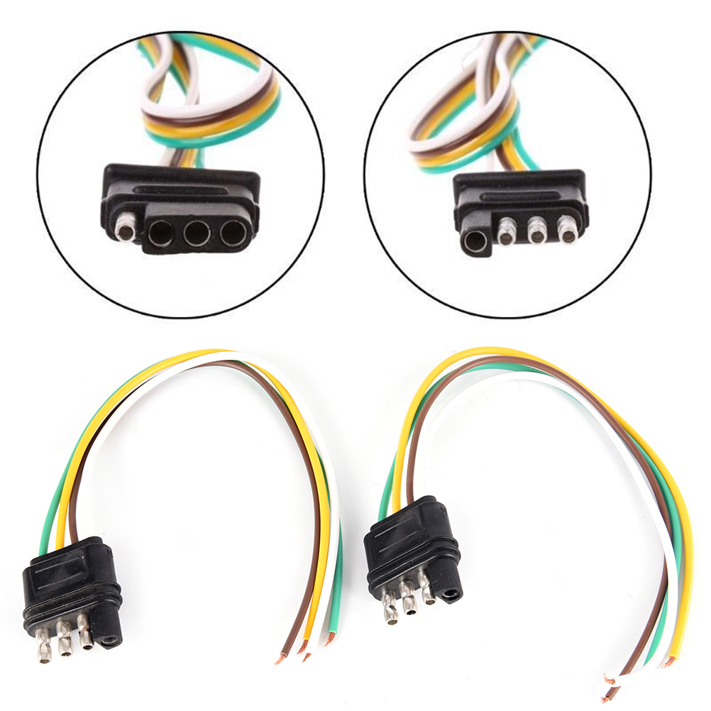 1pcs 4 Pin Trailer Light Wiring Harness Extension 4 Pin Plug 18 Awg Flat Wire Connector