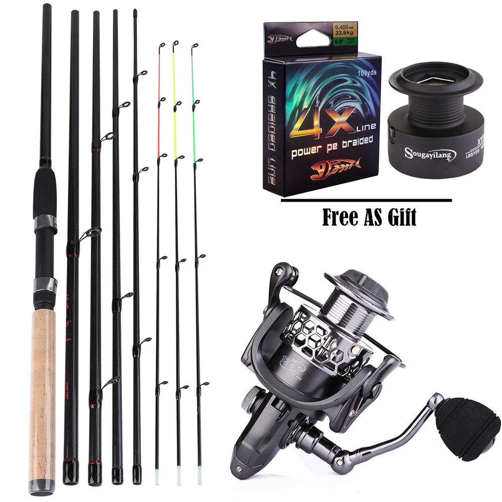 Sougayilang 3.6M Feeder High Carbon Rod Sets With Spinning Reel 3 Sections  L M H Power Fishing Rod Combon Feeder Rod Pesca(China)