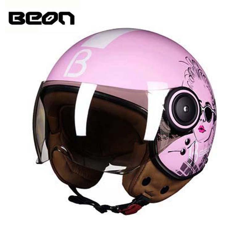ECE BEON B110B pink women motocross half face motorcycle helmet ,Kick scooter electric bicycle vintage helmet,size M L XL все цены