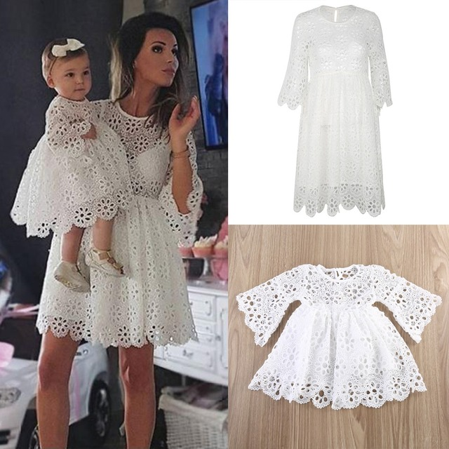 Mother Daughter Dresses Fashion Parent-child Dress Family Matching Outfits  White Women Lace Dress Kids Dresses For Girls Clothes 0183a864b9