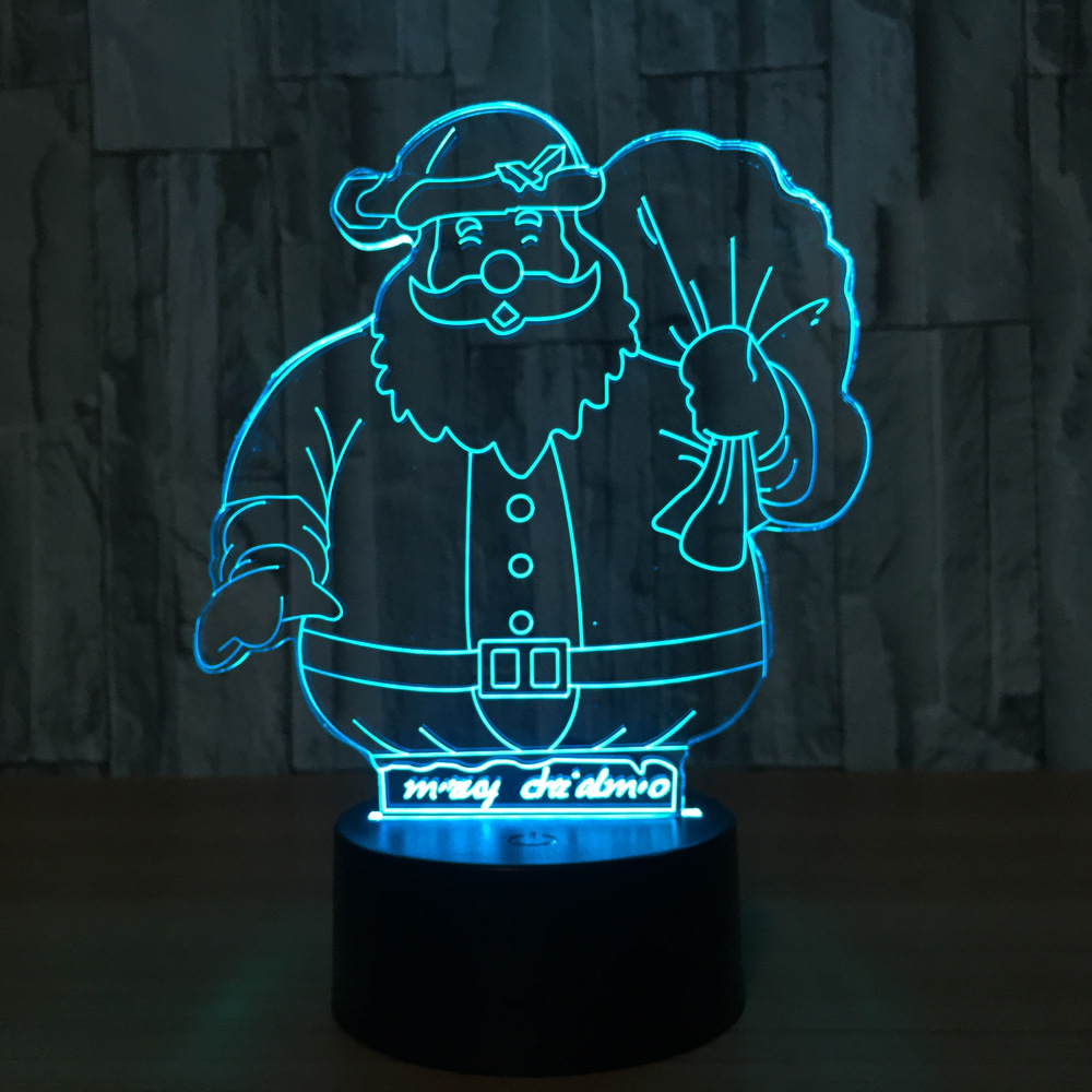 Santa Claus 7 Color Lamp 3d Visual Led Night Lights For Kids Touch Usb Table Lampara Lampe Baby Sleeping Nightlight Toy Gift