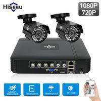 Hiseeu HD 4CH 1080N 5in1 AHD DVR Kit CCTV System 2pcs 720P AHD Waterproof Dome IR
