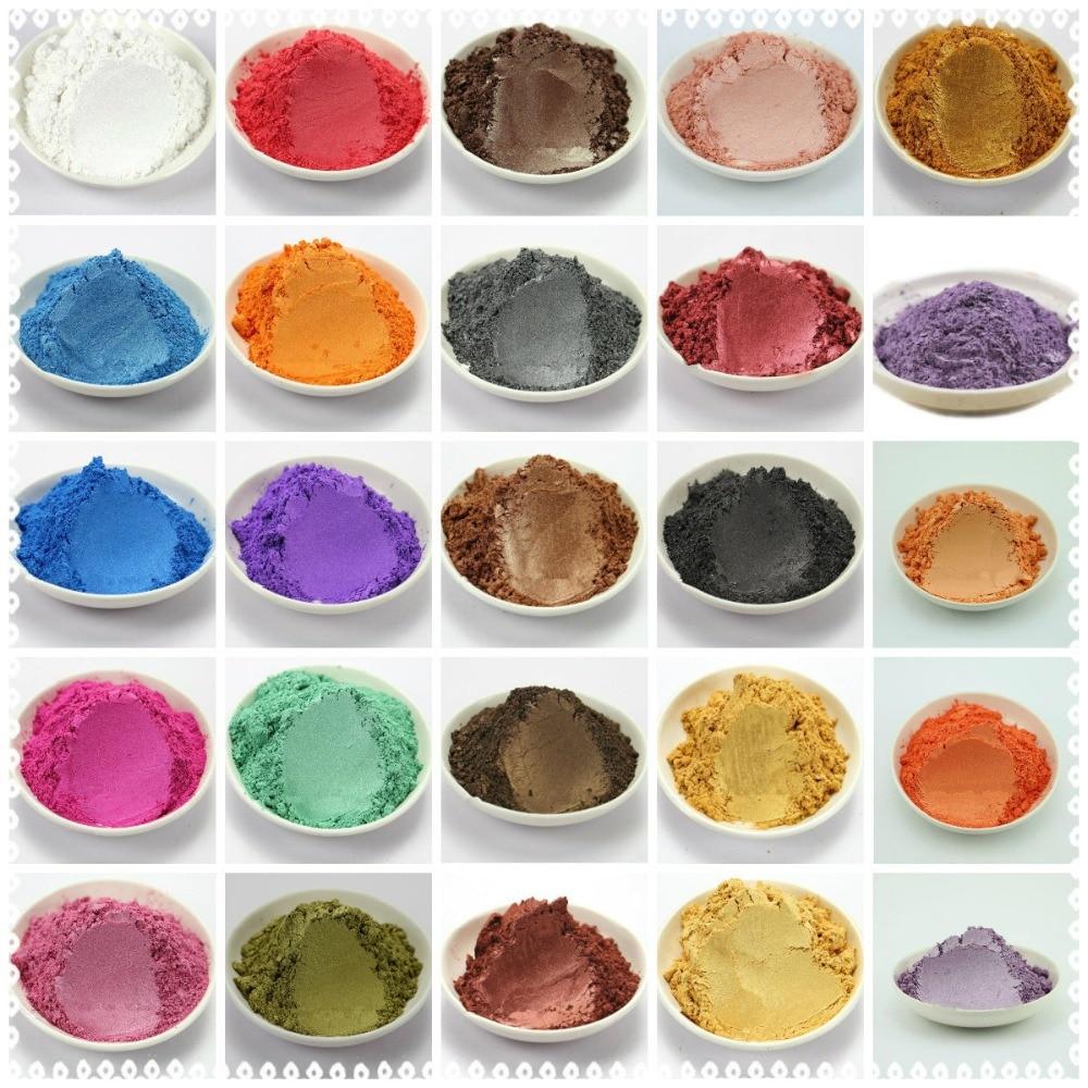 42 färger blandad hälsosam naturlig mineral glimmerpulver DIY för tvålfärg Soap Colorant makeup 1 Lot = 5g / 10g * 42 färger = 210g / 420g