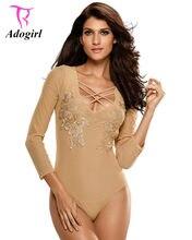 41128fe8f6 Adogirl 2017 Autumn Women Sexy Long Sleeve Black Bodysuits Mesh Patchwork  Floral Appliques Skinny Clubwear Short Jumpsuit Romper