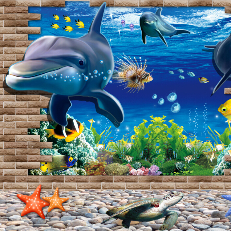 2016 Custom 3d Sea World Wallpaper Blue Color Aquarium For