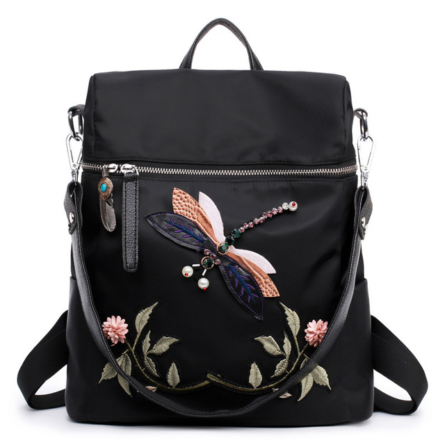 964327fdd034 Women Backpack Europe And The United States Oxford Embroidered Backpack  Multifunctional Travel Bag Ladies Bags
