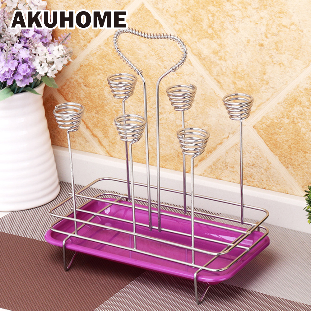 Square Spring Six Cup Drain Rack Down Paper Cup Glass Holder Home Stainless Steel Cup Sh ...