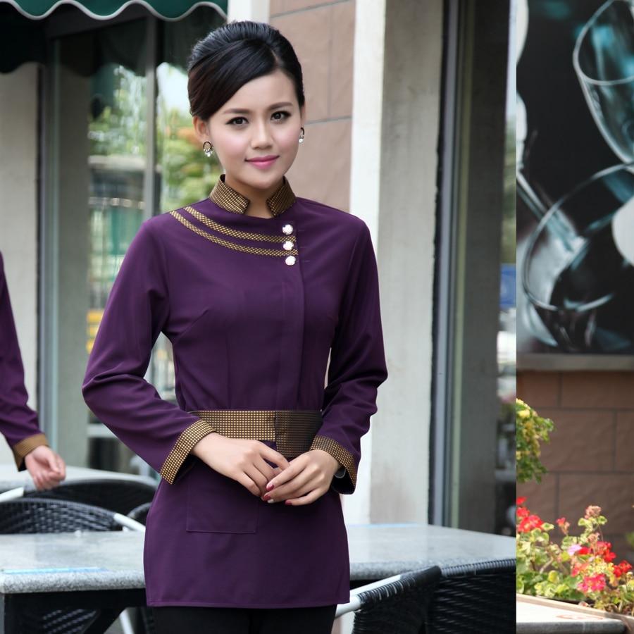 Chef Uniform Hotel Chinese Restaurant Waiter Long sleeve Uniform Thickening Winter Cafe Restaurant Clothing Men and Women