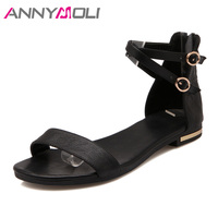 d5edd2d01 ANNYMOLI Genuine Leather Sandals Shoes Women 2018 Summer Flat Sandals Ankle  Cross Strap Buckle Zipper Shoes. ANNYMOLI Genuínos de Couro Sandálias  Sapatos ...