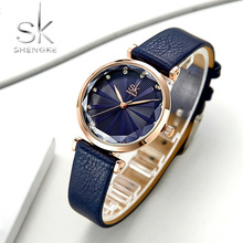 SHENGKE SK Luxury Brand Leather Ladies Wrist Watches Women Prism Quartz Watch For Female Clock reloj mujer 2019 relogio feminino