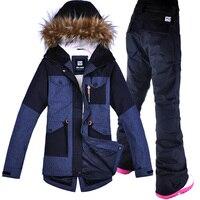Gsou Snow женский лыжный костюм ветрозащитная водостойкая уличная спортивная одежда утолщенная термальная сноубордическая Лыжная куртка + брю