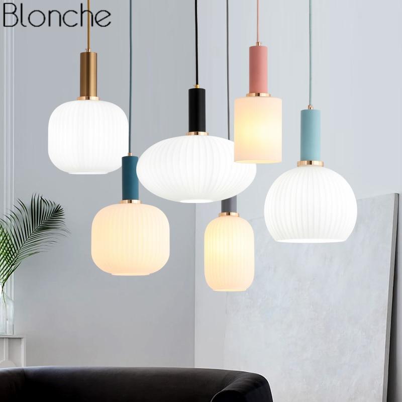 Nordic Modern Glass Pendant Lights Loft Industrial Hanging Lamp for Dining Room Kitchen Light Fixtures Home