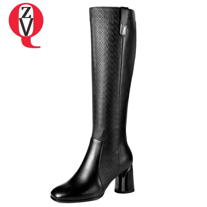 ZVQ 2018 new fashion high quality genuien leather square toe high round heels women shoes zip black winter warm knee high boots airfour new fashion style warm winter boots for women over the knee round toe square high heels poitnted toe fashion lady shoes