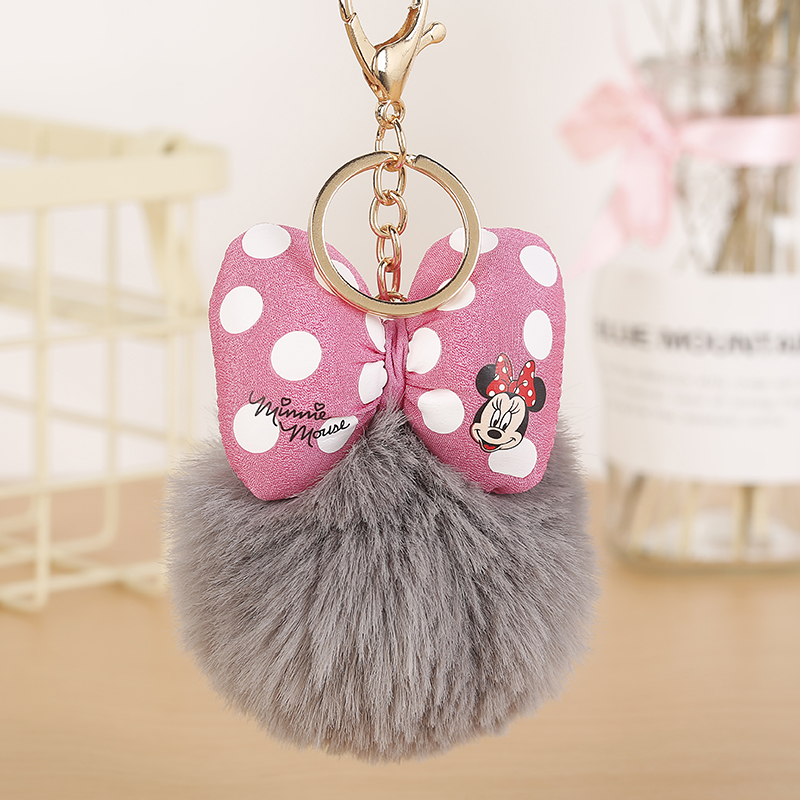 New Mickey Pillow Porte Clef Fluffy Keychain Pompom Llavero Rabbit Fur Ball Bag Key Chain Women Chaveiro Sleutelhanger EH889
