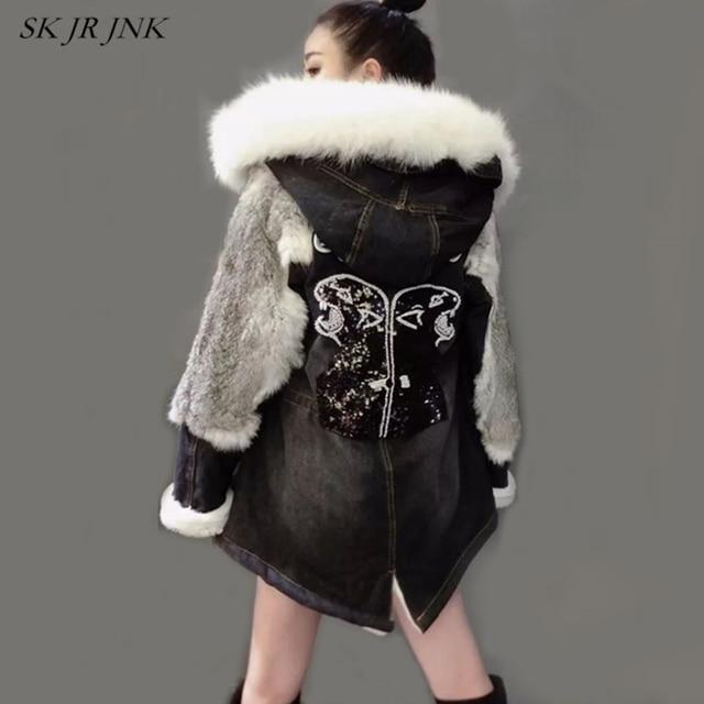 New Tide Winter Jacket Coat Women Denim Jacket Real Large Fox fur Collar Hooded Outwear Lambswool Thick Warm Liner Parka LW121