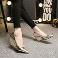 2015 cunhas de couro genuíno sapatos único altos-sapatos de salto alto boca rasa ol sapatos de trabalho dedo apontado preto e branco sapatas das mulheres