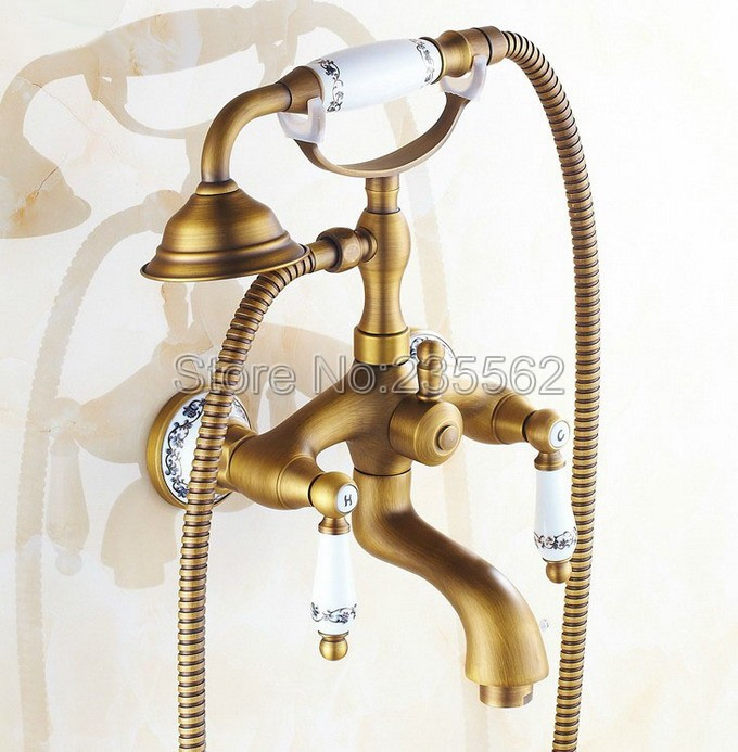 Antique Brass Porcelain Base Wall Mounted Bathroom Shower Faucet Dual Handle Bathtub Faucet with Handheld Shower Spray ltf310 polished chrome brass bathroom shower taps dual handle bathtub faucet set with wall mounted handheld shower ltf901