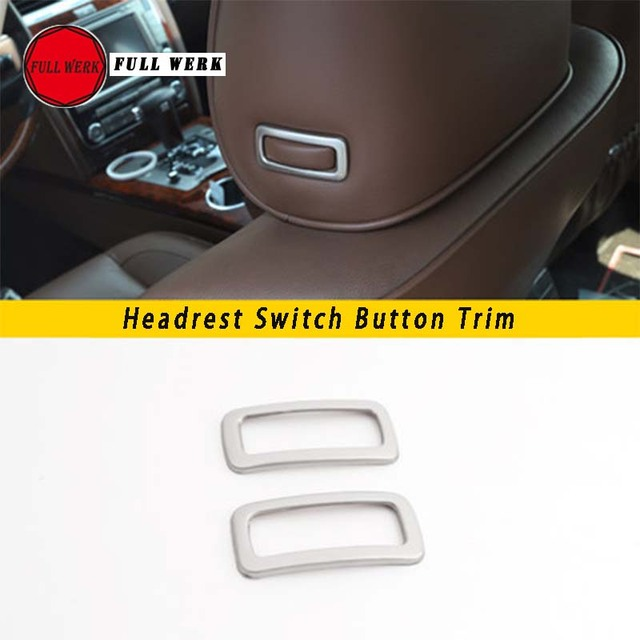 1 Pair Car Styling Seat Headrest Pillow Adjustment Switch Button Trim Sticker Frame for VW Phaeton Head Knob Decoration Cover